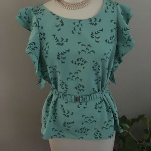 """H&M""""  Belted Top in Turquoise & Black Print"""